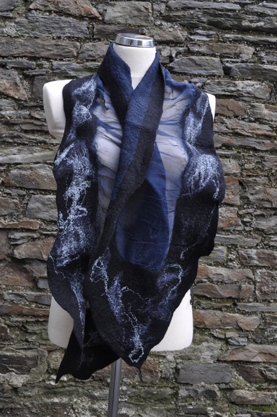 Felted scarf - silk/chiffon and wool - new collection - spring 2012