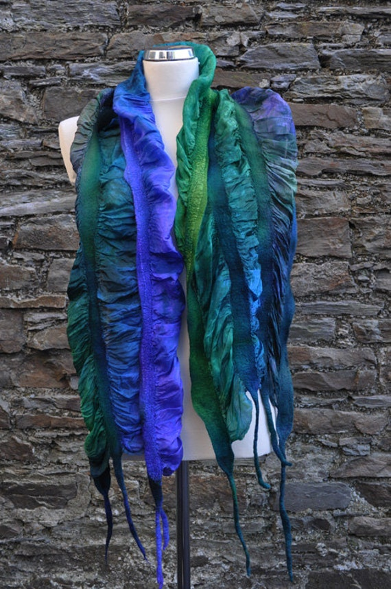 Felted scarf - silk and wool - new collection - spring 2012