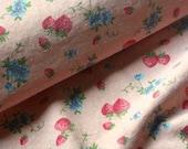 SALE-Japanese Fabric Yuwa, Vintage Strawberry Fabric, Vintage Fruit Fabric, Blue Flower Fabric, Vintage Floral Fabric/Strawberry Pink/a yard
