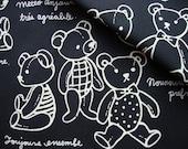 Japanese Fabric Cotton Kokka - Teddy Bear in Black - half yard