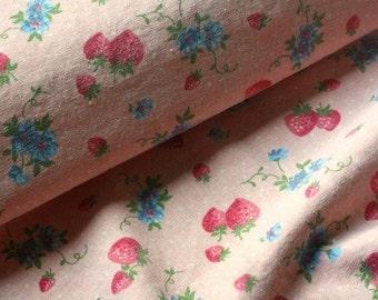 SALE - Japanese Fabric Cotton Yuwa - Strawberry Pink - a yard