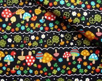 Japanese Fabric Cotton Kokka - Black Mushroom - half yard