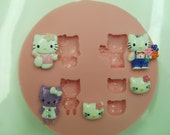 Hello Kitty Mix Silicone Mould/Mold , for Crafts, Jewelry, Scrapbooking, Sweet Dessert and Miniature Food (wax, soap, resin, paper, pmc, plaster, epoxy, polymer clay, Sculpey III, Fimo and Premo Clay)