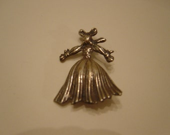 Pin Brooch, Vintage, Sterling Silver Bunny, Easter