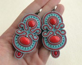 Soutache earrings, beaded earrings with blue and red strips, coral and Toho beads, Macarena - MADE TO ORDER