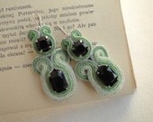 Amparo, soutache earrings with green and black strips, acrylic and glass beads (Toho beads)