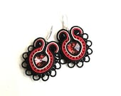 Soutache earrings, beaded earrings with red, black and beige strips,  Swarovski crystals and Toho beads. Heartsy
