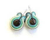 Soutache earrings, beaded earrings with brown, blue, green, golden strips,  Bronzite, Toho beads