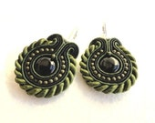 Soutache earrings, beaded earrings with black and dark green strips and beads, onyks, cedar