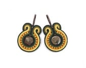 Orange & brown soutache hand embroidered earrings, yellow, green, bronzite