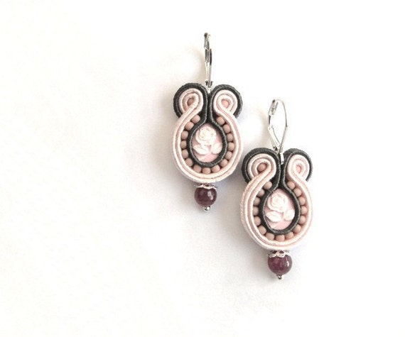 Retro soutache earrings, cameo, OOAK, rose, pink, grey