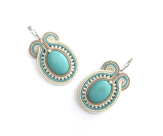 Statement hand embroidered earrings, beige, turquoise, blue