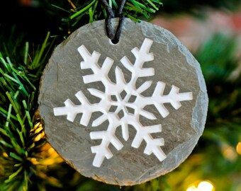 CARVED RECLAIMED SLATE Ornament  / Snowflake / Eco friendly