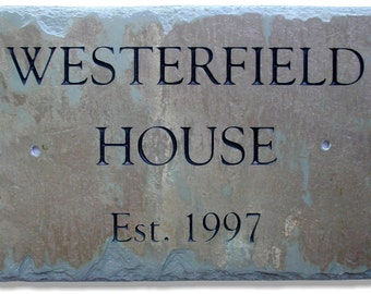 CARVED Slate Name Sign / House Plaque / Lake /Cabin / Cottage Stone / Wedding Gift #E-3s