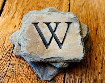 Carved Monogramed Slate Coasters / RECLAIMED HISTORIC / Eco- friendly stone patio