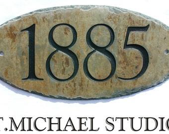 CARVED SLATE ADDRESS Plaque /Sign / Stone / Marker / House / Number / Eco-Friendly