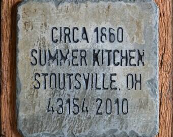 Slate Kitchen Trivet / Hot plate (Carved / Reclaimed) Pot Holder / plate / HISTORIC information