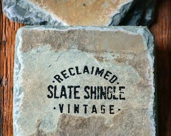 Reclaimed Slate Coasters/ Hand-stamped / Vintage /  Drink set