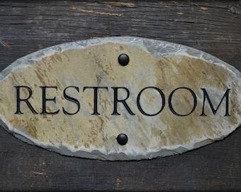 Carved RESTROOM Sign / Stone /Slate / Door Plaque / Gentlemen / Reclaimed
