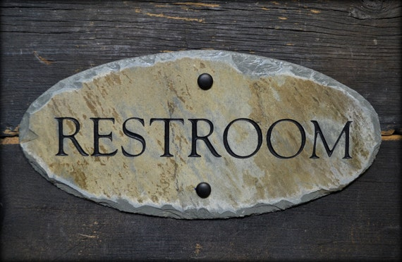 Carved RESTROOM Sign / Stone /Slate / Door Plaque / Gentlemen / Reclaimed