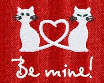 Instant Download Custom Made Valentine Kitty Cat  Heart Love Machine Embroidery Digital Design File