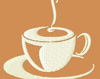 Steaming Coffee embroidery design - Machine Embroidery Design - Digital Design File