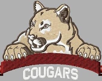 Instant Download Cougars embroidery design - Machine Embroidery File - Machine Embroidery Design - Digital Giggle Design File