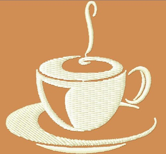 Steaming Coffee Embroidery Design Machine Embroidery Design