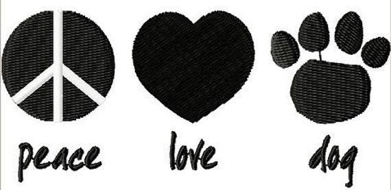 Peace Love Dog embroidery design - Machine Embroidery Design - Digital Design File