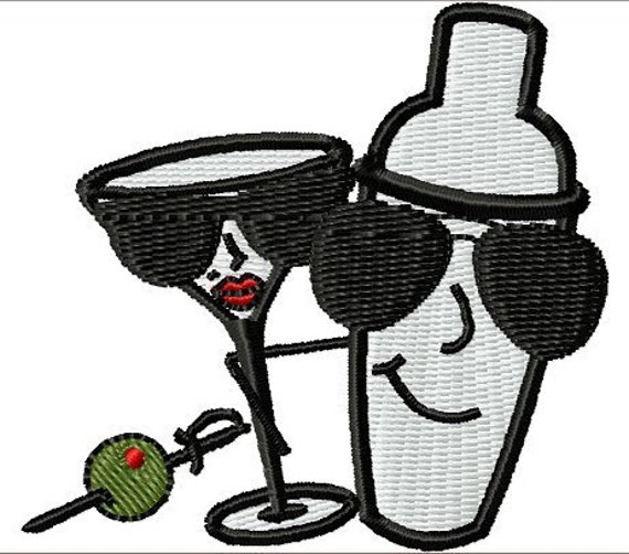 Instant Download Martini Shaker And Glass embroidery design - Machine Embroidery File - Machine Embroidery Design - Digital Design File