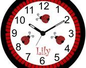 9 Inch Personalized Ladybug Clock-Ladybugs