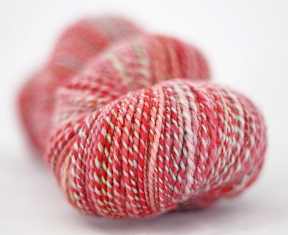 Handspun - Hand dyed - Worsted weight 2ply - DOUBLE SKEIN - 455 yards - 7.7oz - Tropical Spring