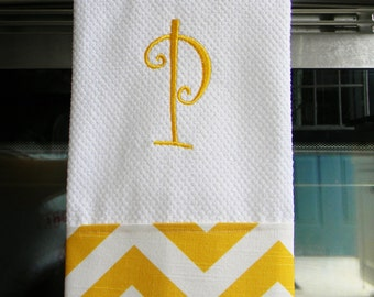Monogrammed Kitchen Towel or Hand Towel - Yellow and White Chevron