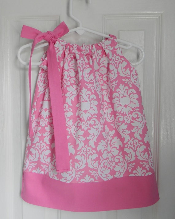 Pillowcase Dress Damask in Pink and White