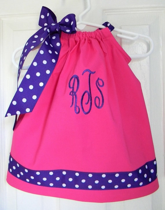 Monogrammed Pillowcase Dress in Pink and Purple