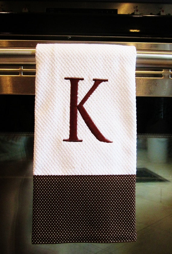 Monogrammed Dish Towel or Hand Towel - Brown / White Pin Dot
