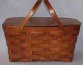 Vintage Wood Picnic Basket Weave Peterboro Basket Co New Hampshire