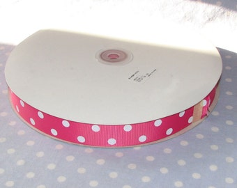 """100 YDS - PRICE DROP Grosgrain Ribbon - Hot Pink with White Polka Dots - 7/8"""" - 100 yards - Full Roll"""