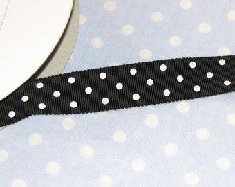 "3 YDS Grosgrain Ribbon - Black with White Polka Dots - 3/4"""