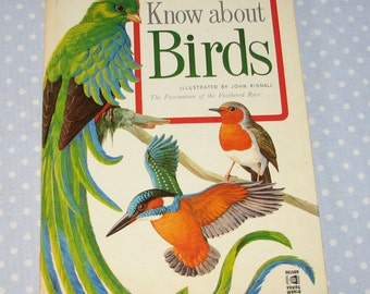 Vintage Reference Book Know About Birds John Rignall Large Scale Full Color Illustrations