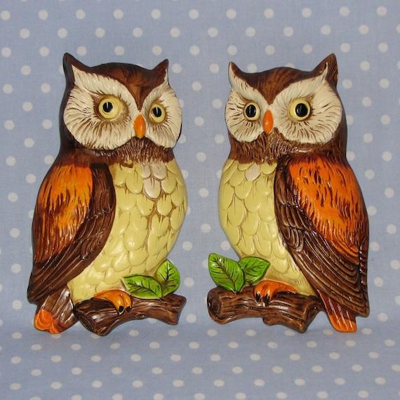 PAIR of Lefton Owls Wall Hangings Vintage