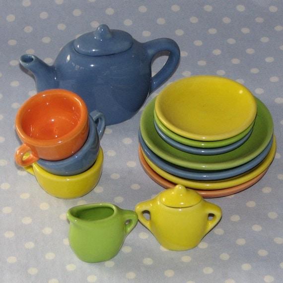 Child Tea Set in Fiesta-Style Colors Stoneware Ceramic Glaze