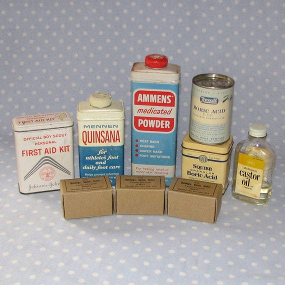 Instant Collection of Vintage Medical Supplies Castor Oil Boric Acid Quinsana First Aid Kit Gauze
