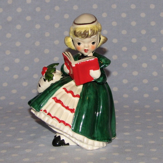 Singing Carolers Candleholders Figurines Vintage By: Vintage Napco Shopper Girl Caroler Figurine Holds Book