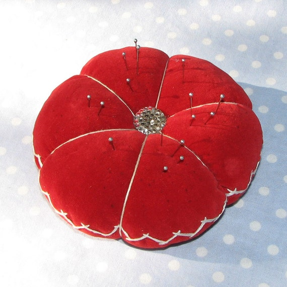 Vintage Red Velvet Pin Cushion with Button center