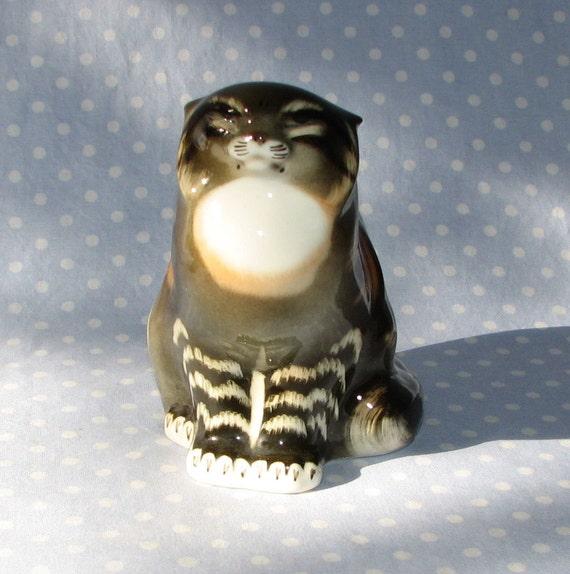 Wild Cat Ussr Lomonosov Porcelain Cat Figurine