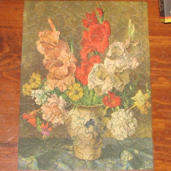 Vintage Tuco Picture Jigsaw Puzzle Vase of Flowers Gladiola Carnation Daisy