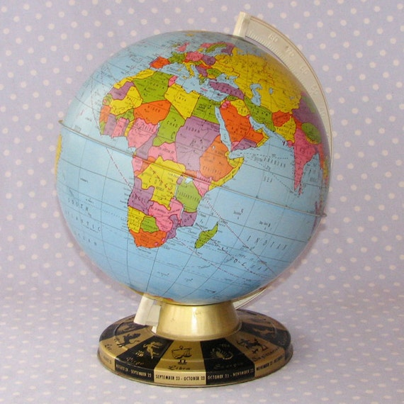 Tin Globe Vintage 1960s with Zodiac Symbols on Base