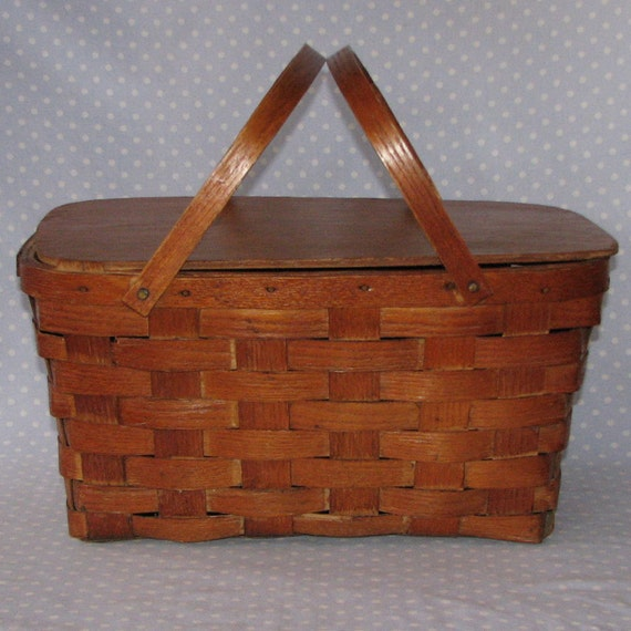 Vintage Wood Picnic Basket Weave Peterboro Basket Co By