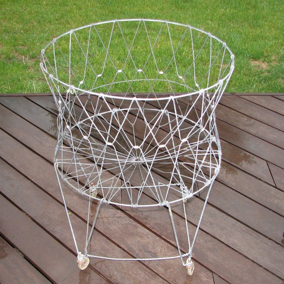 Large Vintage Wire Laundry Hamper Basket on Wheels - Industrial Shabby Decor Folding Collapsible